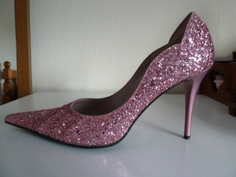 Pink Glitter Moda In Pelle High Heely Actual Wedding Shoes