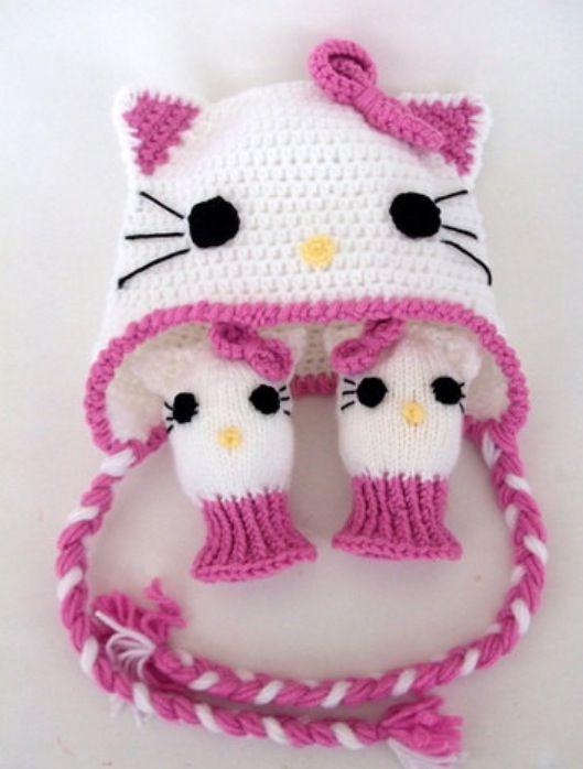 Crochet hello kitty hat and mittens | Hello kitty baby ...