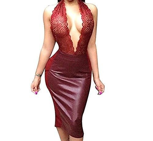 Donau Women Sexy Luxury Lace Halter Neck Banquet Cocktail Prom Party Dresses