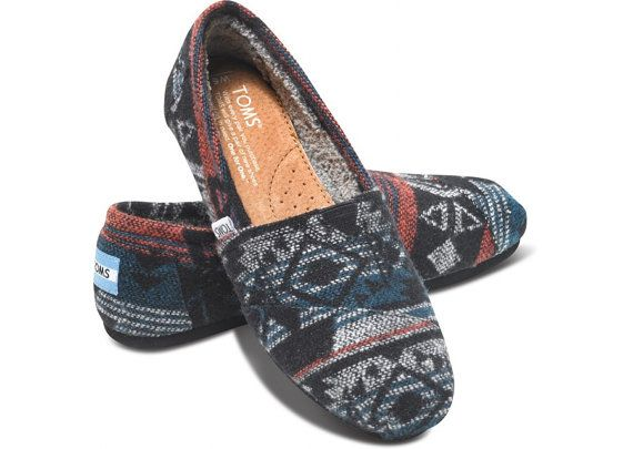 Black Teal Maroon Red Grey Tribal Toms Shoes Fleece Lined