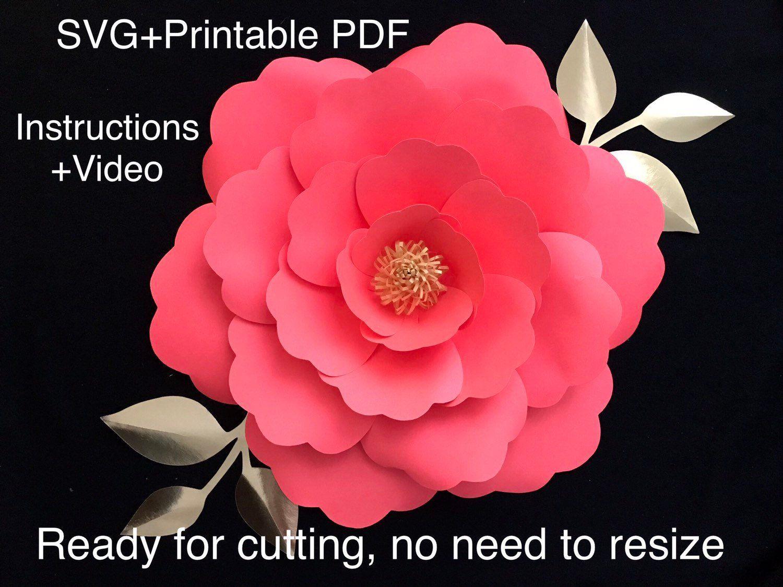 Paper Flower Template SVG PDF Printable Flowers Svg Files 3D Flower Svg Giant Paper Flower Template Large Paper Flowers Flores De Papel #largepaperflowers