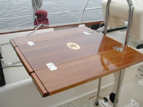 Custom Teak Cockpit Table With Inlay By Cruising Concepts Boat Table Boat Decor Boat Interior
