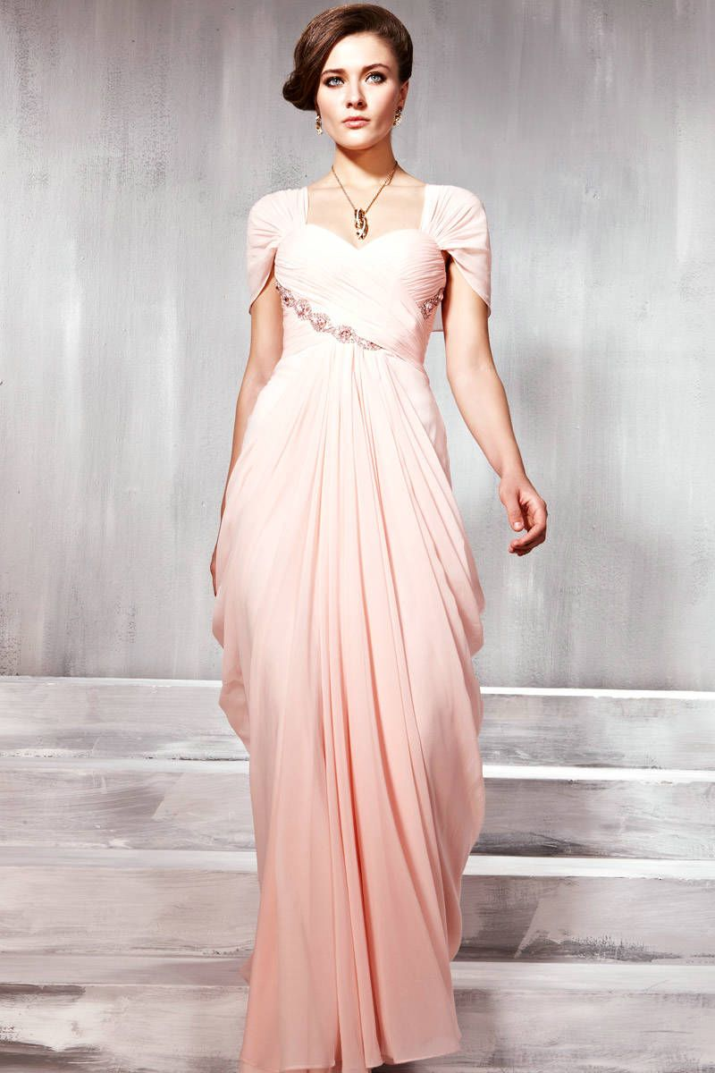 Sweetheart Draping Chiffon Short Sleeves Stylish Lovely Pink Pageant Dress 2012