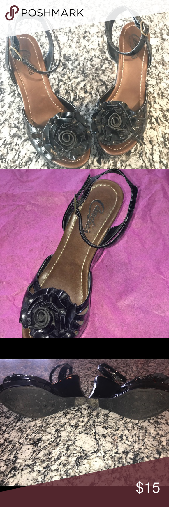 Candies Wedge Sandal Shiny black wedge, with ankle strap. Used, good condition. More comfy than they look! 🌷 Candie's Shoes Sandals