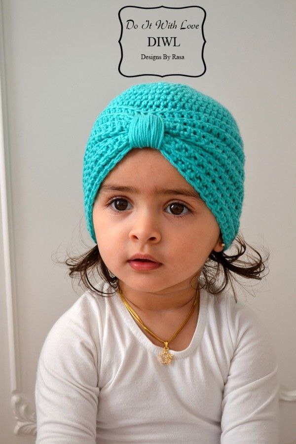 Baby Kinder Turban Style Mütze Häkelanleitung   Häkelmütze Kinder ...