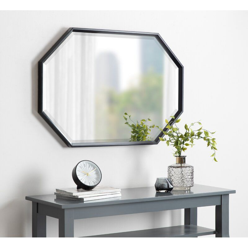 Kate And Laurel Calter Large Elongated Octagon Frame Wall Mirror 25 5 X 37 5 Black Octagon Mirror Living Room Mirrors Mirror Wall