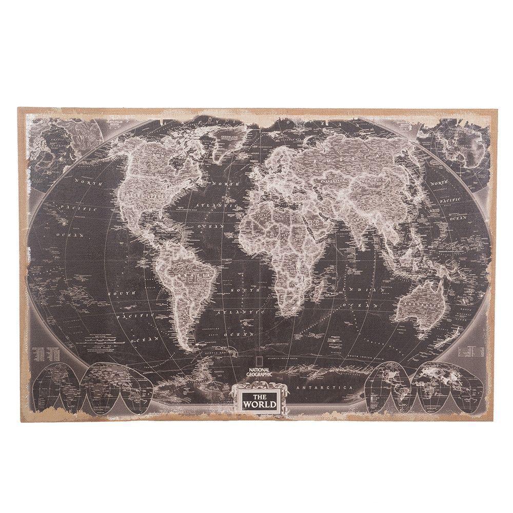 Nieuw Dijk Natural Collections wereldkaart linnen zwart/grijs 118x78 cm JB-22