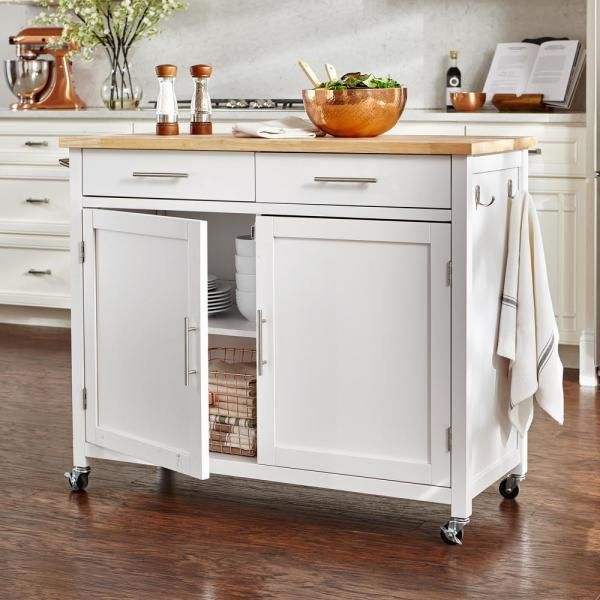 StyleWell Glenville White Kitchen Cart with 2 Drawers-SK17787Cr2-EBW - The Home Depot