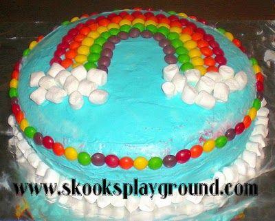 Marshmallow Skittles Rainbow Cake Rainbow Cake Cake Simple