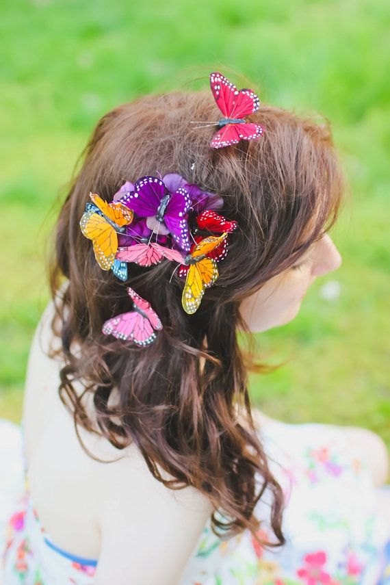 d02a18c6a5334 butterfly hair comb, bright rainbow hair accessory, monarch butterfy ...