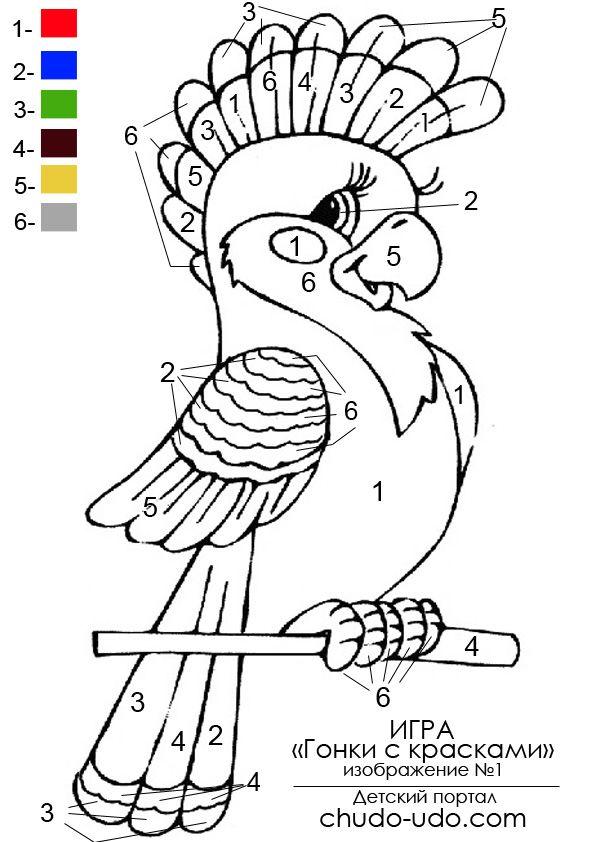 веселые раскраски по цифрам веселый попугай Color By