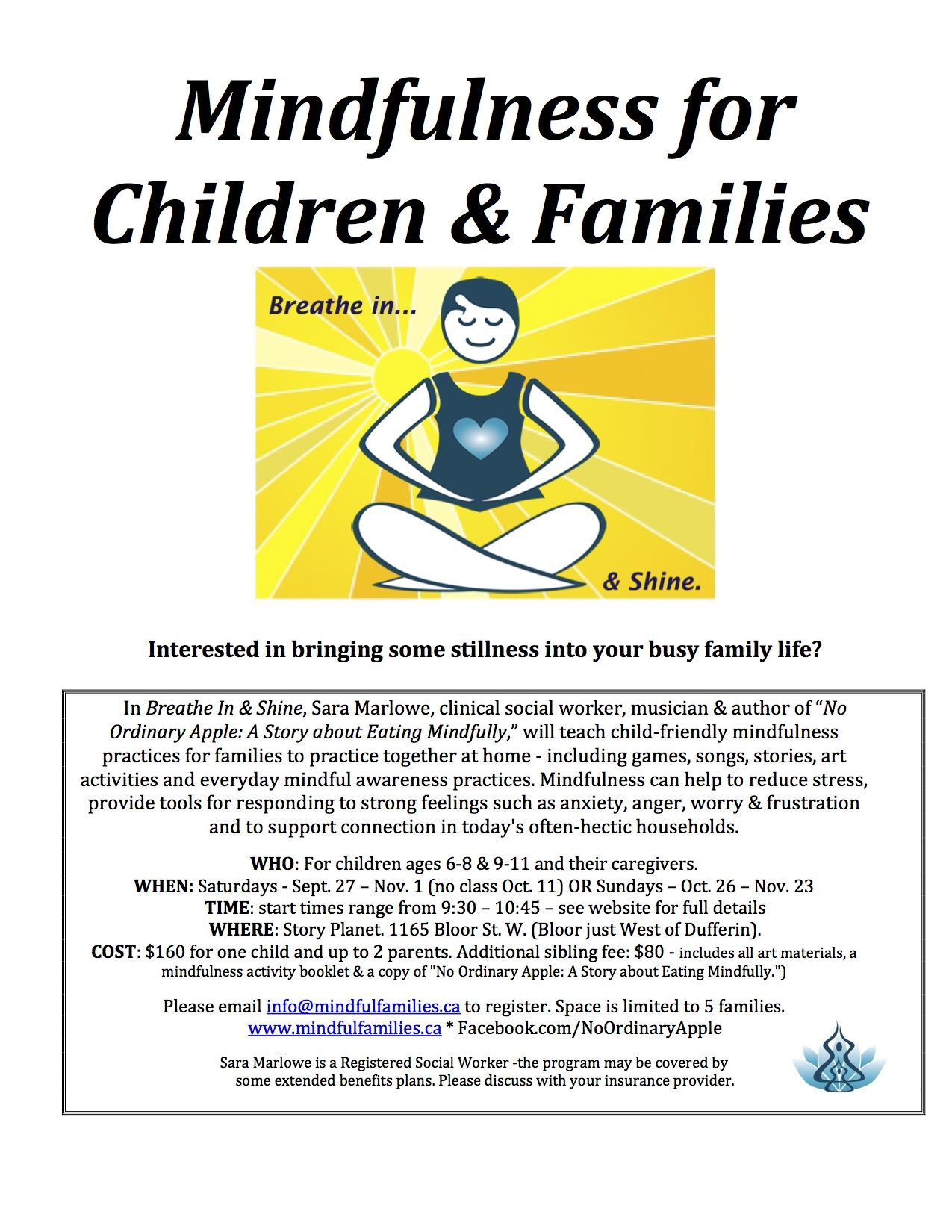Breathe In & Shine: Mindfulness for Children & Families. Fall programs.