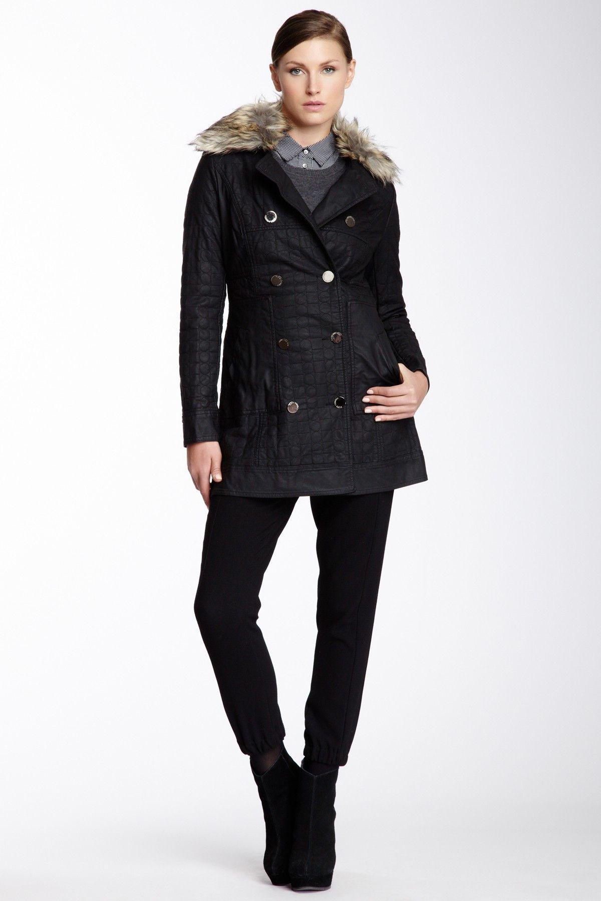 Vertigo Faux Leather Faux Fur Trim Jacket Jackets, Fur