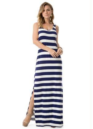 2fea03f28f Vestido Longo Listrado Fenda (Azul) Lunender
