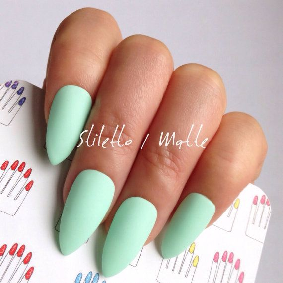 Stiletto 12pcs Mint Green Hand Painted Nail Tips / Press by 31313 ...
