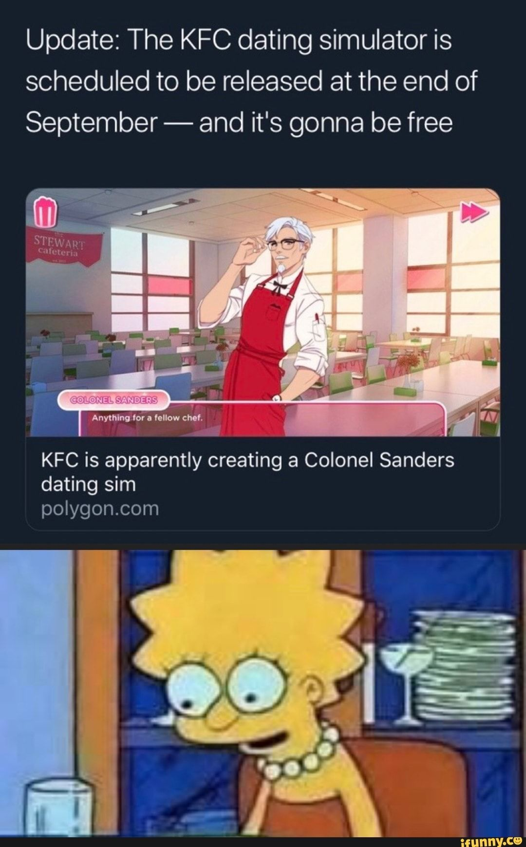 Update The KFC dating simulator is scheduled to be