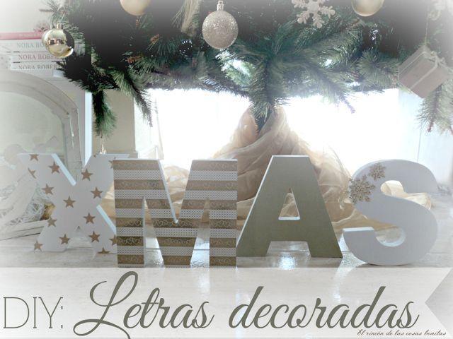 Letras de madera decoradas para Navidad - El rincón de las cosas