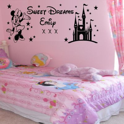 Details About Personalised Sweet Dreams Princess Minnie Mouse Wall