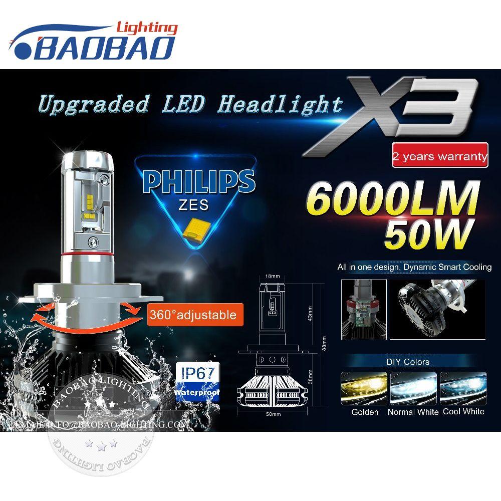 Top Quality Car Led Headlight Kit X3 Use Philips Zes Gen2 Chips 50w 6000lm 6500k 8000k Car Headlamp H4 H7 H11 9005 9006 Faros Led Bombillas Led Luz Led