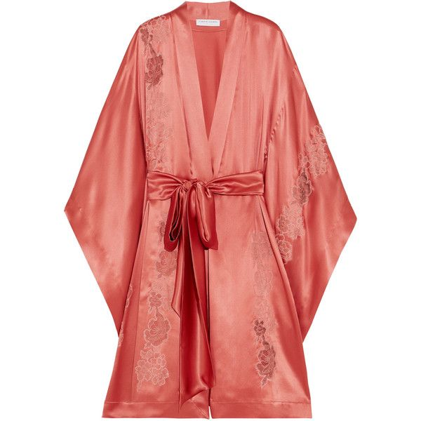 9a2a033923f Carine Gilson Embroidered Chantilly lace-trimmed silk-satin robe ...