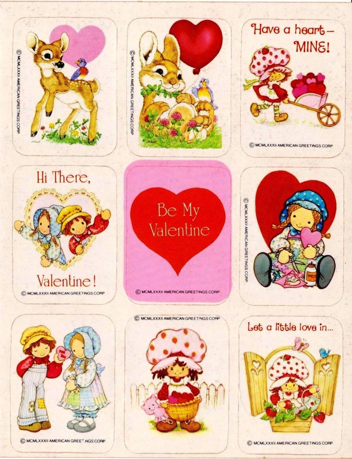 70s 80s Holly Hobbie Srawberry Shortcake Valentines Cards Holly Hobbie Valentine Stickers Strawberry Shortcake Doll
