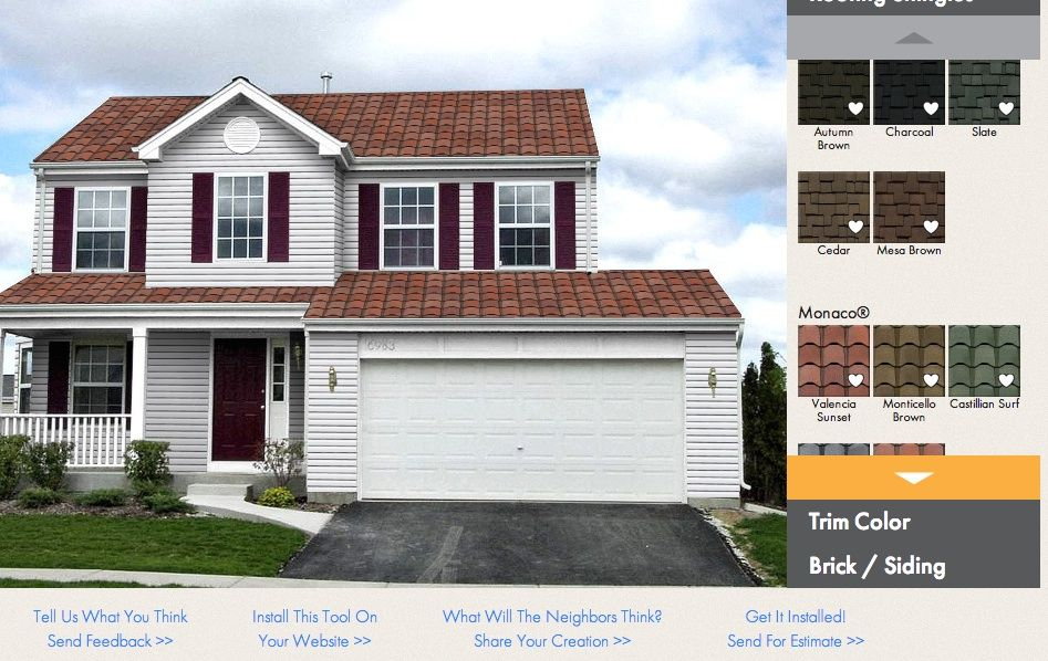 This Awesome Virtual Home Remodeler Lets You See What Roofing Trim Siding Would Look Best On Your Home Brick Siding Siding Trim Remodel