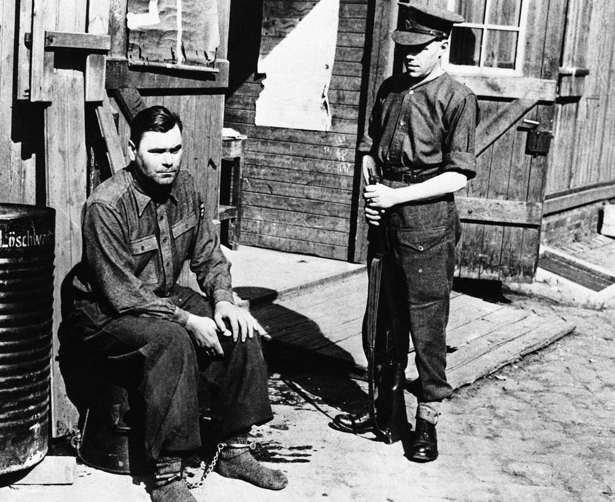 "Joseph Kramer, commandant of the Bergen-Belsen concentration camp in Belsen, photographed on April 28, 1945. After standing trial, Kramer, ""The Beast of Belsen"", was convicted and executed in December of 1945"