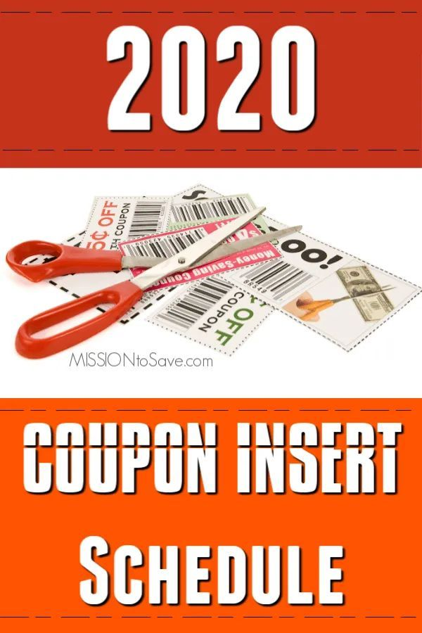 Coupon Insert Schedule for 2020