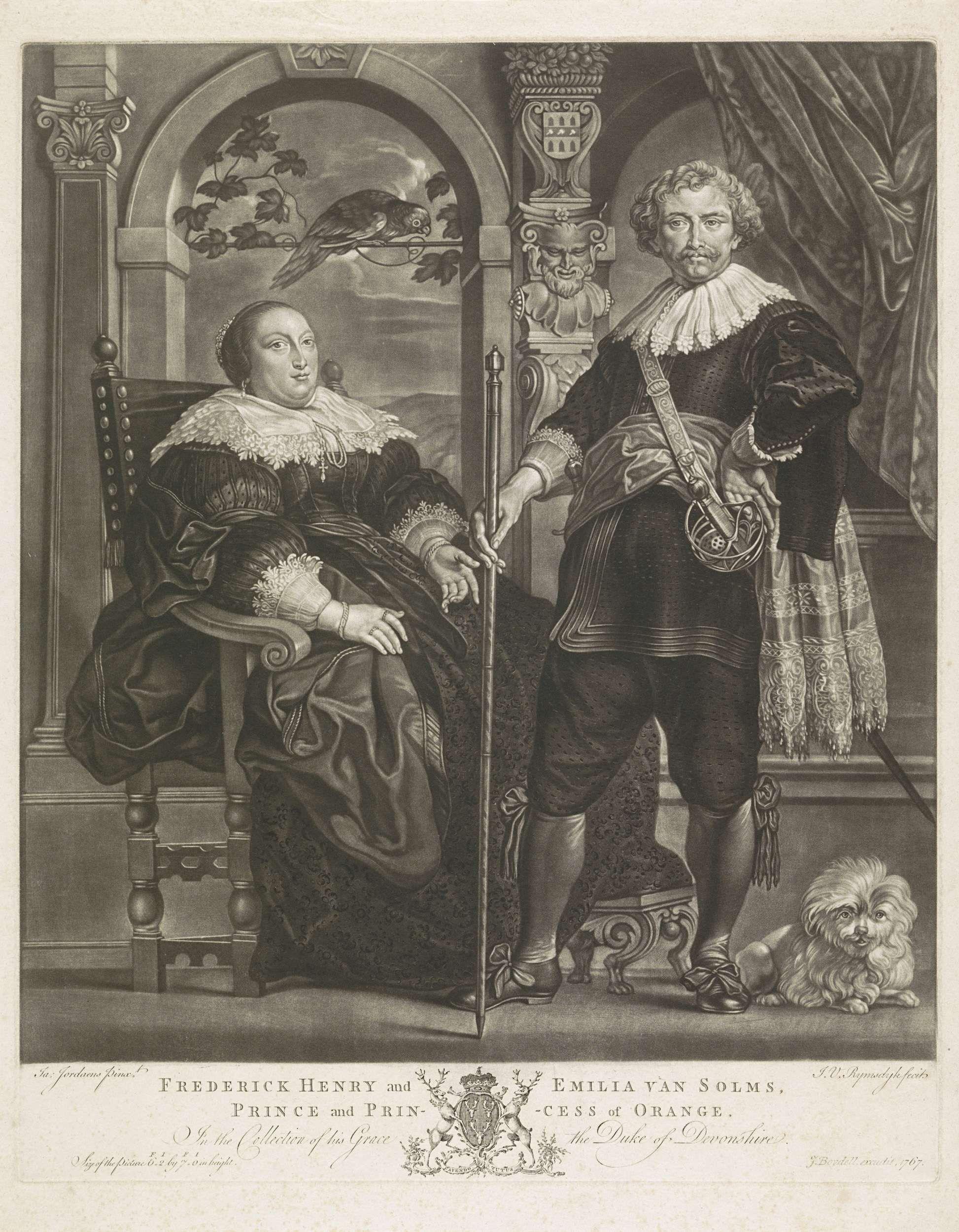 Jan van Rijmsdijck | Portret van Frederik Hendrik en Amalia van Solms, Jan van Rijmsdijck, J. Boydell, 1767 | Frederik Hendrik, prins van Oranje met zijn vrouw Amalia van Solms. Naast de prins zit een hondje en op de achtergrond zit een papegaai.
