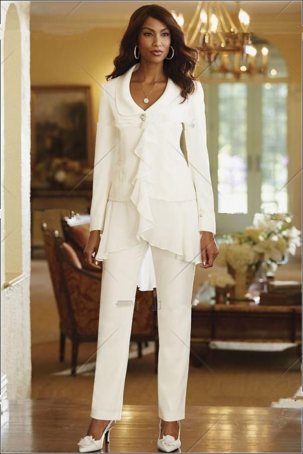 White Ivory Chiffon Exquisite V Neck Mother of the Bride Pant Suits ...