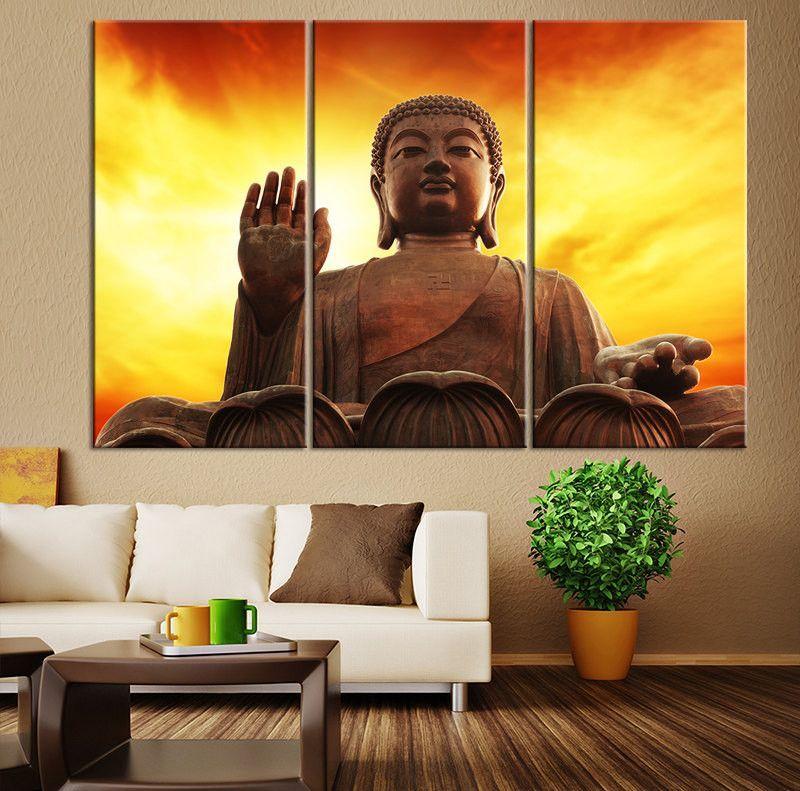 Buddha Statue Art Canvas Painting, Buddha Large Canvas Art, Sunset ...