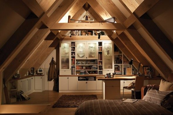 Cabin Bedroom Fitted Furniture: Warmth And Cozy Attic Bedroom With