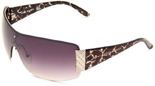 Steve Madden Womens S5198 SLV Shield Sunglasses,Silver Animal Frame ...