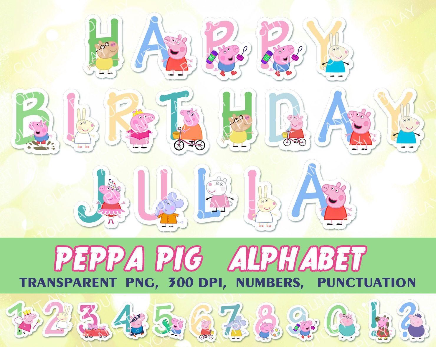 Peppa Pig Alphabet, clipart, birthday decorations, digital alphabet ...
