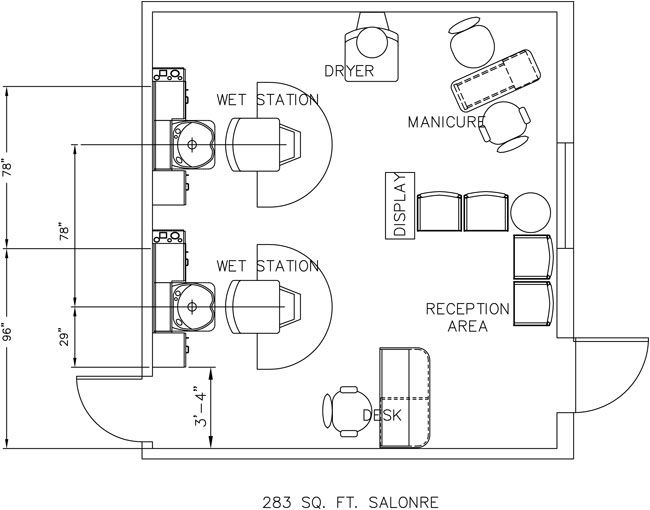 Beauty salon floor plan design layout 283 square foot for Salon floor plans