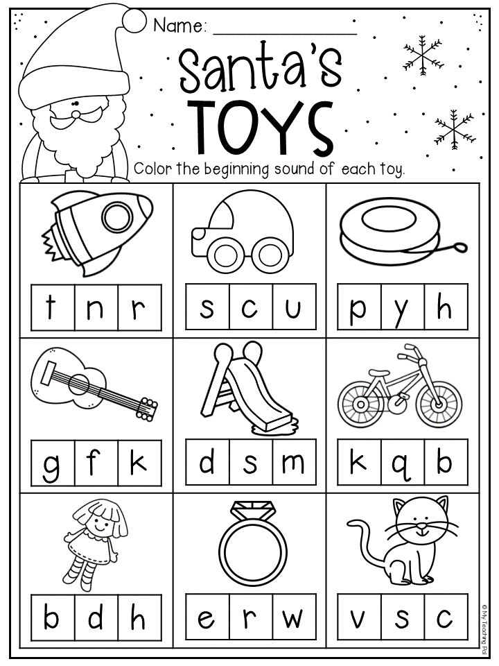 Christmas Beginning Sound Worksheet For Kindergarten. Students Color Th…  Christmas Kindergarten, Christmas Worksheets Kindergarten, Preschool  Christmas Worksheets
