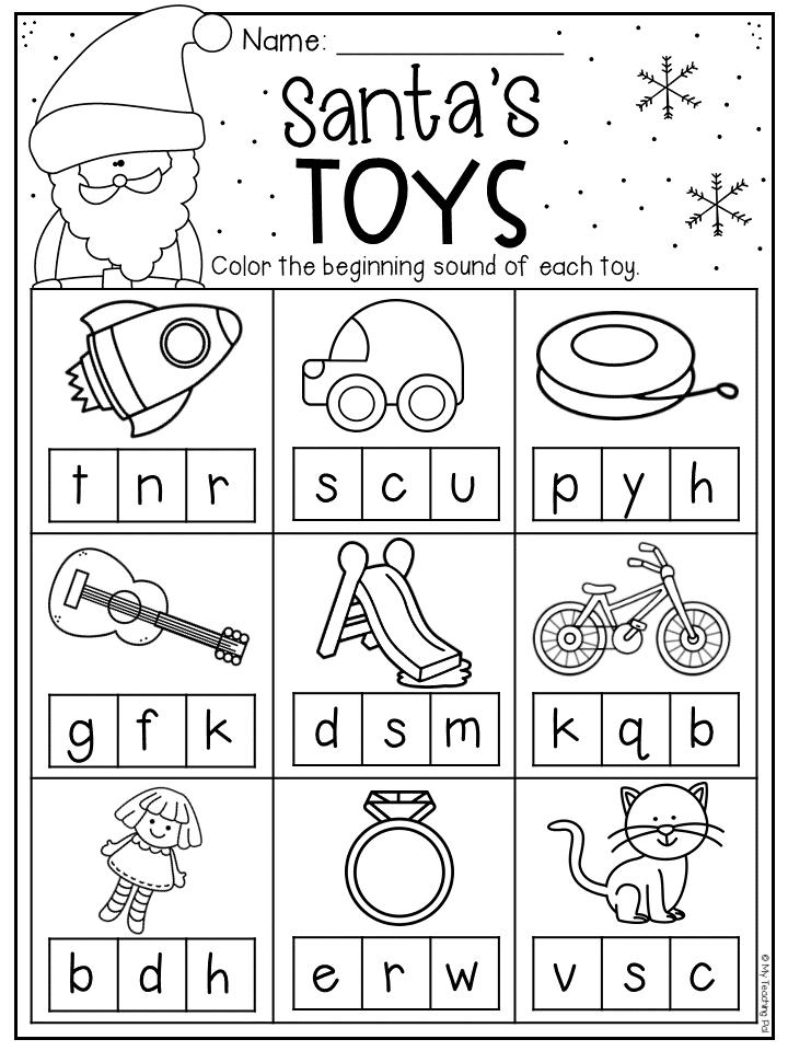 Christmas beginning sound worksheet for kindergarten