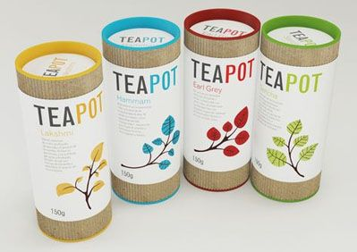 Teapot- the colors are so fun and I like the use of cardboard. Very different from most tea packaging