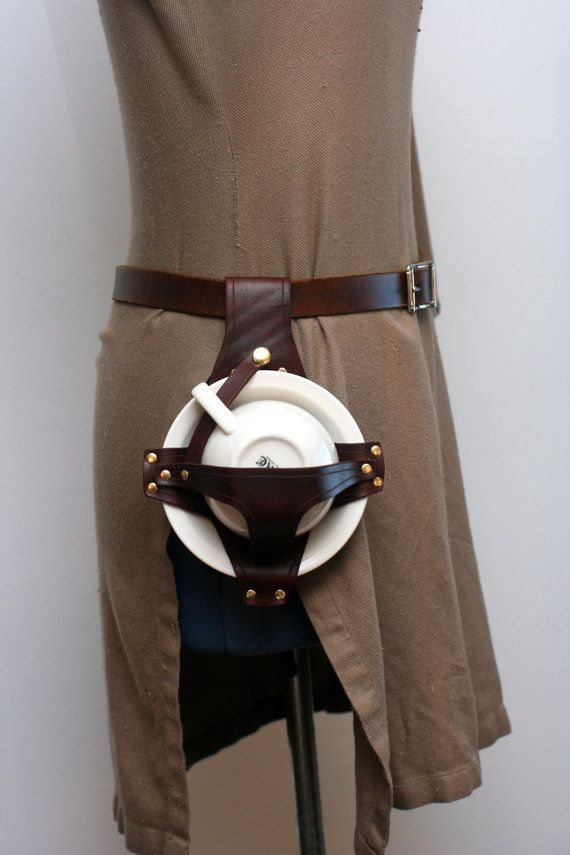 Leather holster for teacup and saucer