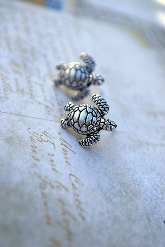 Turtle Earring Studs Silver Turtles Sea By Ear2there
