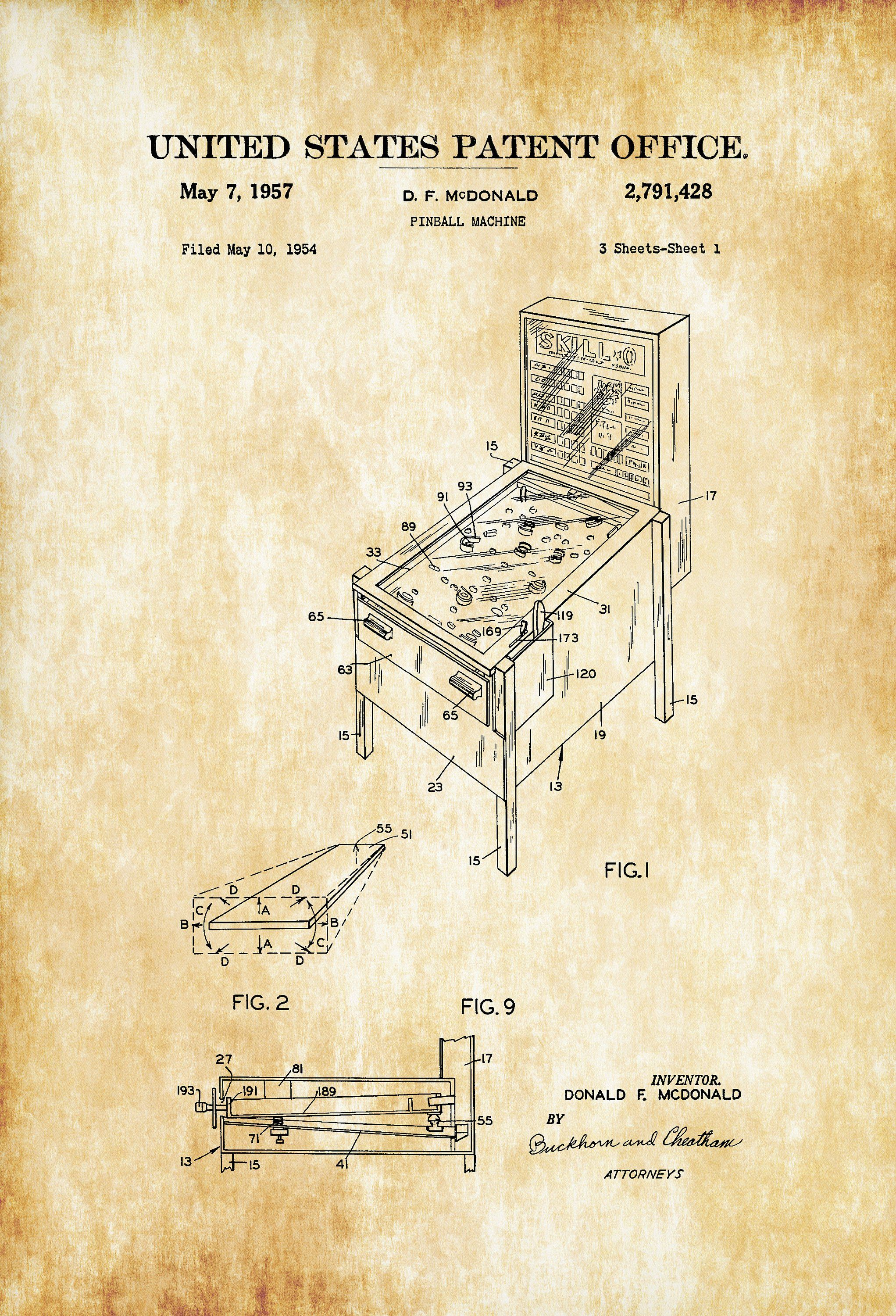 Pinball Machine Patent – Patent Print, Game Room Wall Decor, Pin ...