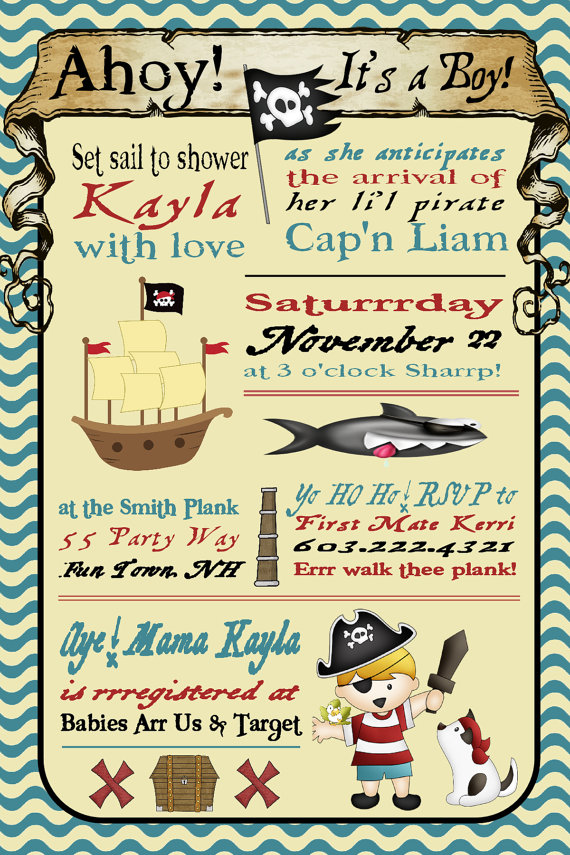 Pirate Baby Shower Invitation Printable by AsYouWishCreations4u ...
