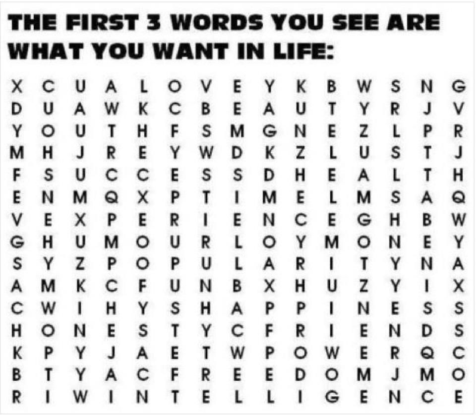 What Words Do You See First Facts About Dreams Interesting