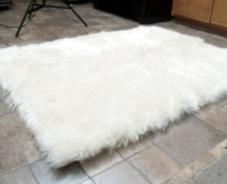 Faux Fur Area Rug White Small 2 4 X 6