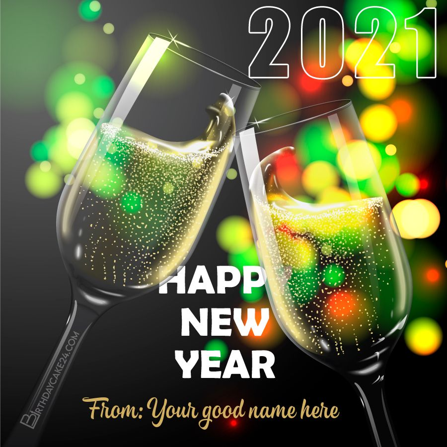 Champagne New Year 2021 Card With Name Online in 2020