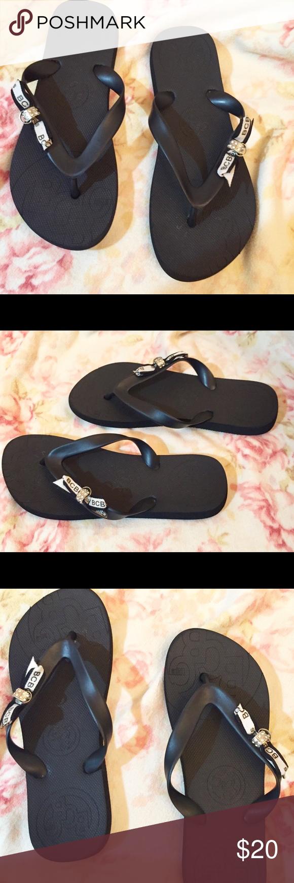 0ddc95ddfd8496 ❤️NWOT. SUPER CUTE BCBG Flip Flops Size 7 Black Flip Flops with Ribbons    Crystals. BRAND NEW! NEVER WORN! BCBG Shoes Sandals