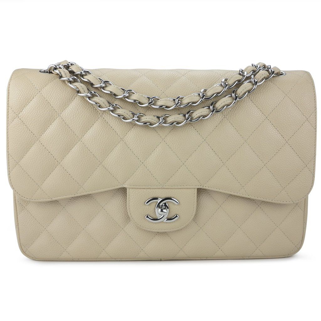 06ac574239aa Authentic CHANEL Jumbo Classic Double Flap Bag in Beige Clair Caviar -  Dearluxe.com | Preloved Luxury Handbags and Accessories | Designer Fashion  ...
