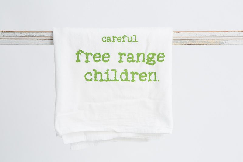 Think global, eat local with your wild children in tow. Face to Face, based in St. Simons, GA, uses reclaimed materials and makes their tea towels in the USA.