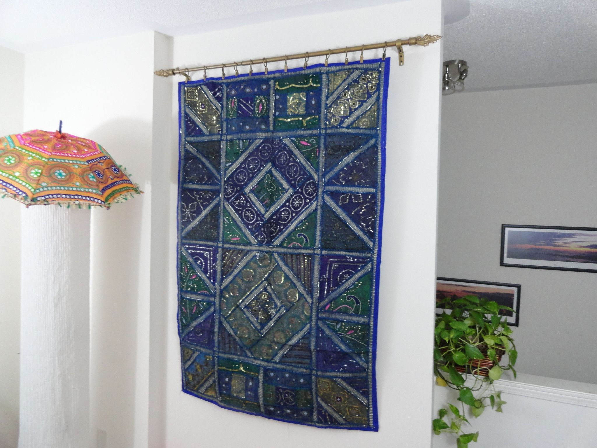 Ethnic wall tapestry home decor idea blue ganges for Fabric wall art