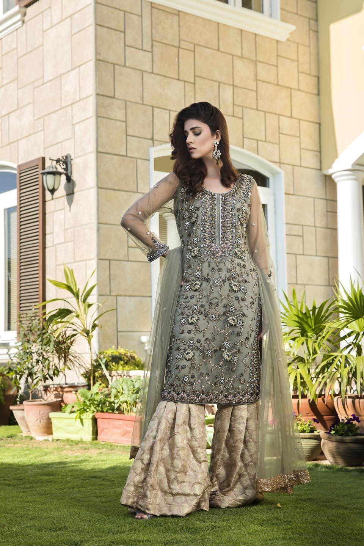 13eeca4f5985a7 Pista Green And Fone Color Party Dress Shirt : Net Peplum Pants :Jamawar  Dupatta : Net Trim : Zari Net Hand Made Embroidery #partydress #partywear  ...
